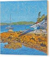 A Sailboat Near Halifax Nova Scotia Wood Print