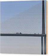 A Sailing Boat Passes Under The Bridge In Tampa Bay Wood Print