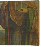 A Saint With A Fortress And A Banner Wood Print