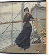 A Scottish Lady On A Boat Arriving In New York Henry Bacon Wood Print