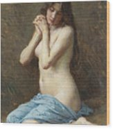 A Seated Nude With A Blue Drape Wood Print