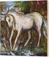 A Secret Place White Hores Painting Wood Print