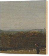A Shepherd In A Landscape Wood Print