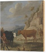 A Shepherd With His Flock In A Landscape With Ruins Wood Print