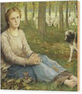 A Shepherdess And Her Flock Wood Print
