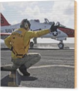 A Shooter Launches A T-45 Goshawk Wood Print