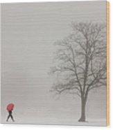 A Shortcut Through The Snow Wood Print