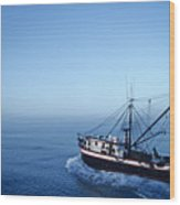 A Shrimp Boat In The Gulf Of Mexico Wood Print