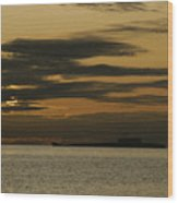 A Silhouetted Russian Submarine Wood Print by James P. Blair