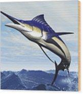 A Sleek Blue Marlin Bursts Wood Print