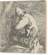A Sleeping Warrior Seated On A Rock And Leaning On His Shield Wood Print
