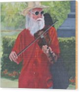 A Slim Fiddler For Peace Wood Print