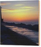 A Sliver Of Sunset Wood Print