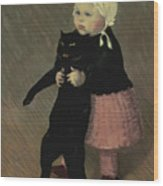 A Small Girl With A Cat Wood Print