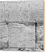 A Small Part Of The Wailing Wall In Black And White Wood Print