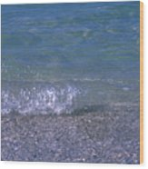 A Small Wave Ripples Onto Shore Wood Print