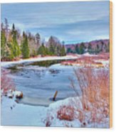 A Snowy Moose River Wood Print