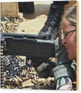 A Soldier Fires An M240b Medium Machine Wood Print by Stocktrek Images