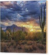 A Sonoran Desert Sunrise - Square Wood Print