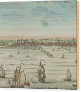 A South East View Of The Great Town Of Boston In New England In America, 1730 Wood Print