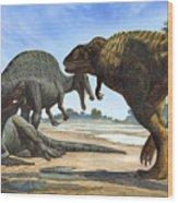 A Spinosaurus Blocks The Path Wood Print