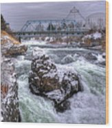 A Spokane Falls Winter Wood Print
