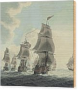 A Squadron Of The Royal Navy Running Down The Channel And An East Indiaman Preparing To Sail Wood Print