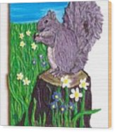 A Squirrel At His Snack Wood Print