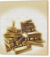 A Stack Of Gold Bullion  Wood Print
