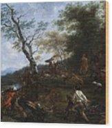 A Stag Hunt Nicolaes Claes Pietersz Berchem Wood Print