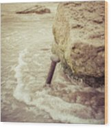 A Stake In The Beach Wood Print