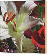 A Star Lily With  A Rose Wood Print