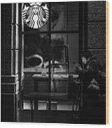 A Starbucks Respite In Downtown San Jose Wood Print