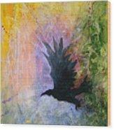 A Stately Raven Wood Print