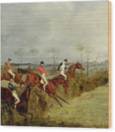 A Steeplechase - Taking A Hedge And Ditch  Wood Print by Henry Thomas Alken