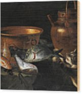 A Still Life Of Fish With Copper Pans And A Cat  Wood Print