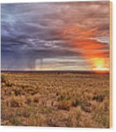A Stormy New Mexico Sunset - Storm - Landscape Wood Print