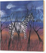A Stormy Night For A Zebra  Wood Print