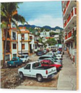 A Street In Puerto Vallarta Wood Print