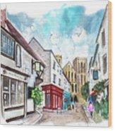 A Street In Ripon Wood Print