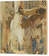 A Street Scene In Cairo Wood Print