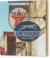 A Street Scene Of Vintage Signs, Lowell, Arizona Wood Print