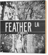 Fe - A Street Sign Named Feather Wood Print