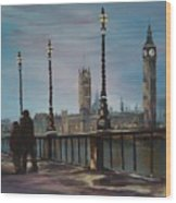 An Evening Stroll Along The Thames  Wood Print