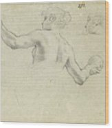 A Study For A Female Allegorical Figure And A Separate Study For Her Head Wood Print