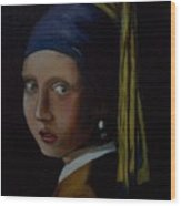 A Study Of The Girl With Pearl Earring By Vermeer Wood Print