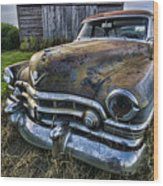 A Stylized Wide Angle Look At An Old Rusty Cadillac By A Cornfield Wood Print