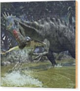 A Suchomimus Snags A Shark From A Lush Wood Print by Walter Myers