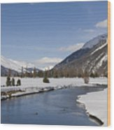 A Sunny Winter Scene In The Swiss Alps Wood Print