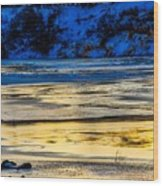 A Sunset In A River Of Ice Wood Print